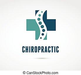 хиропрактики, массаж, назад, боль, and, остеопатия, значок