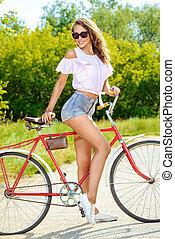 , ходить, на, , велосипед
