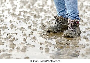 ходить, через, , mudflats