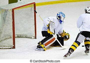 хоккей, игрок, в течение, игра