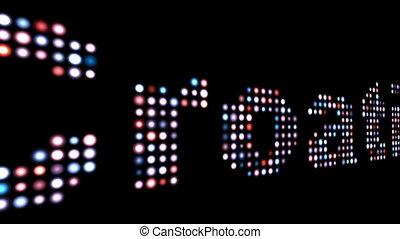 хорватия, текст, черный, над, красочный, светодиод