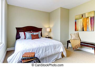 хороший, walls, постельные принадлежности, спальня, зеленый, decor., белый