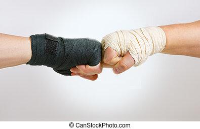 хорошо, борьба, зло, рука, черный, перчатка, оппозиция, белый, рука, clasped