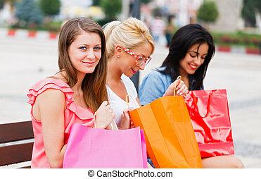 хорошо, поход по магазинам, большой, после, girls, чувство