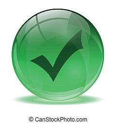 хорошо, сфера, стакан, зеленый, значок, 3d