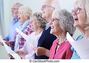 хор, вместе, seniors, группа, пение