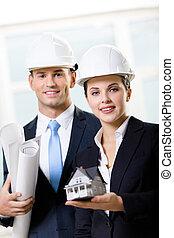 хранение, дом, blueprints, два, модель, engineers