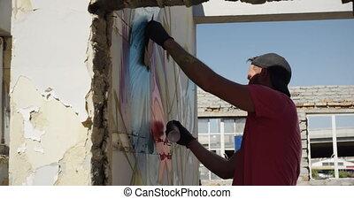 художник, аэрозоль, спрей, картина, граффити, 4k