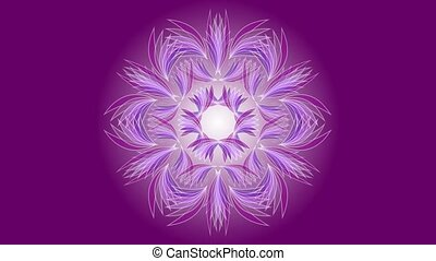 цветок, бахрома, отличительный, вверх, мандала, центр, ornament., sailed, petals, медитация, сделал, расширять, aid., анимационный, деликатный, белый, красивая, curves, background.