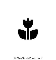 цветок, значок, вектор, весна, сад, квартира, тюльпан