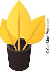 цветок, золото, изометрический, значок, стиль, горшок