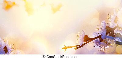 цветок, изобразительное искусство, весна, дерево, blosssom, background;