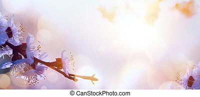 цветок, изобразительное искусство, весна, background;, пасха, пейзаж