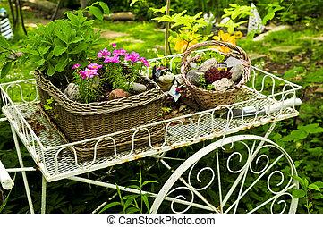 цветок, сад, тележка