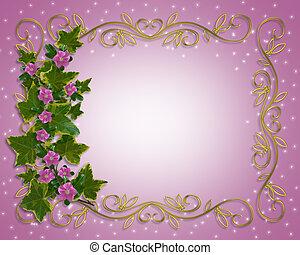 цветочный, граница, плющ, элемент