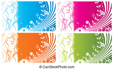 цветочный, девушка, -, абстрактные, весна, женщина