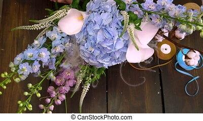 цветочный, магазин, hyperlapse, creating, bouquete