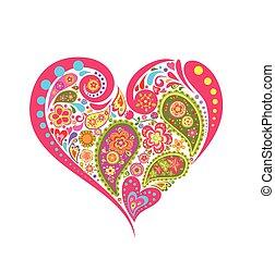 цветочный, сердце, форма, пейсли