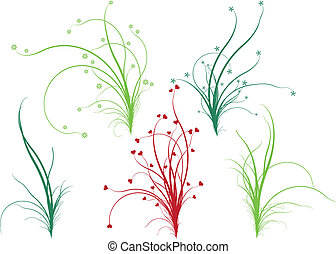 цветочный, трава, вектор