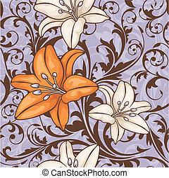 цветочный, шаблон, бесшовный