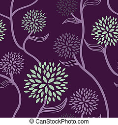 цветочный, шаблон, пурпурный, зеленый