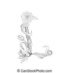 цветочный, шрифт, l, письмо