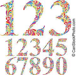 цветочный, set., чисел, красочный