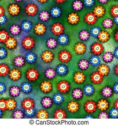 цветы, бесшовный, счастливый