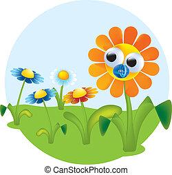 цветы, вектор