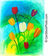 цветы, картина, природа