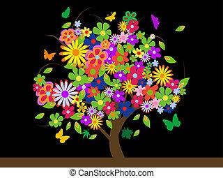 цветы, красочный, дерево