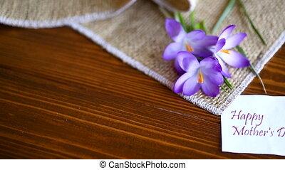 цветы, таблица, крокус, весна, деревянный, пурпурный