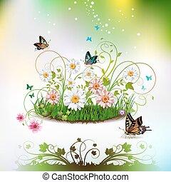 цветы, трава