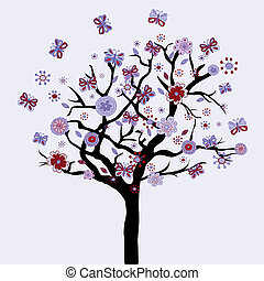 цветы, цветочный, butterflies, абстрактные, дерево