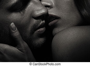 целование, портрет, пара, привлекательный