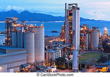 цемент, завод, в, ночь