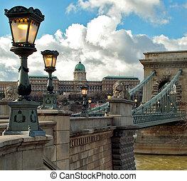 цепь, мост, будапешт