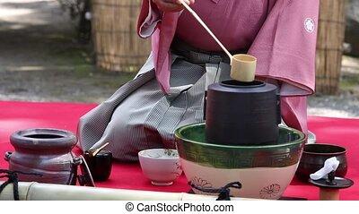 церемония, чай, зеленый, японский