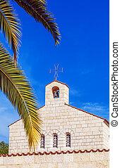 церковь, of, умножение, фасад, в, tabgha