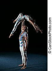цирк, artists, выполнять, другой, tricks.