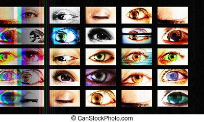цифровой, анимация, of, hd, screens, показ, другой, большой,...