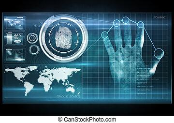 цифровой, безопасность, рука, распечатать, сканирование