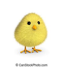 цыпленок, пушистый, желтый