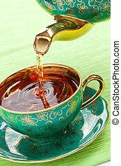 чай, в, античный, фарфор, кружка