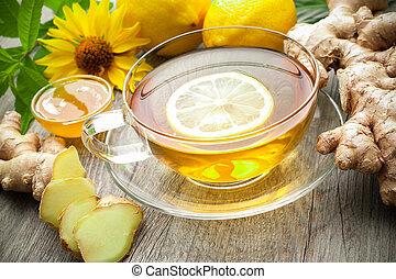 чай, имбирь, кружка