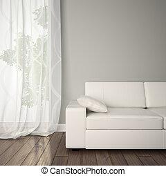 часть, of, интерьер, with, диван