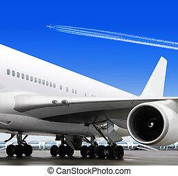 часть, of, самолет, в, аэропорт