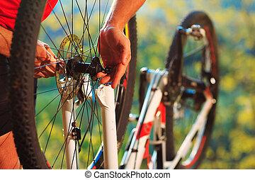 человек, велосипедист, ремонт, байк, в, , дерево