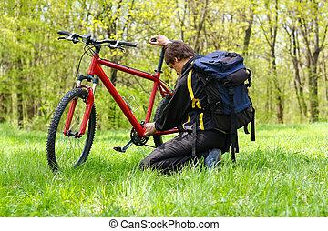 человек, велосипедист, ремонт, байк