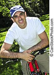 человек, верховая езда, , велосипед